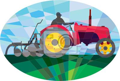 Granjero de conducción Vintage Tractor agricola oval bajo Polígono