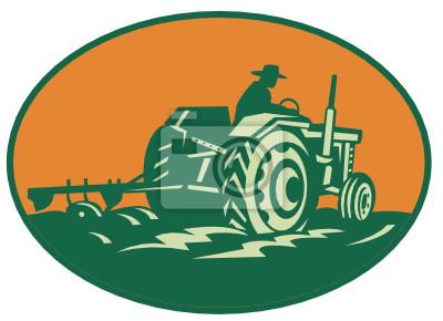 Granjero Trabajador que conduce Tractor agricola