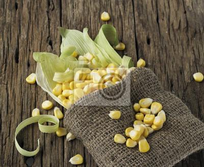 granos de maíz en una mazorca y saco