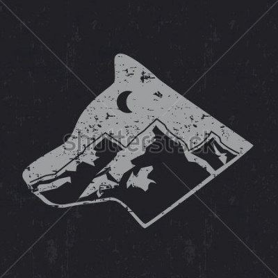 Póster Gray wolf typography design, t-shirt graphics.