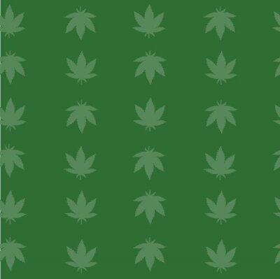 Póster Green Background Marijuana cannabis Plant Seamless Vector Repeat Pattern
