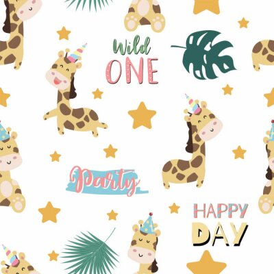 Póster Green pastel seamless pattern with  giraffe smiling,horn,star. Wording are wild one,party and happy day