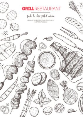 Póster Grilled meat and vegetables top view frame. Vector illustration. Engraved design. Hand drawn illustration. Grill restaurant menu design template. Food on the grill.