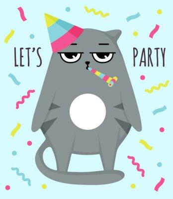 Póster Grumpy cat invitation card. Let party. Cat in cap. Party atribution. congratulatory postcards