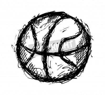 Póster Grunge garabato de baloncesto
