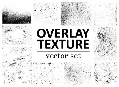 Póster Grunge overlays vector. Different paint textures with splay effect and drop ink splashes. Dirty grainy stamp and scratches and damage marks. Urban grunge overlay. Vector illustration