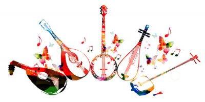 Póster Grupo de instrumentos musicales con mariposas