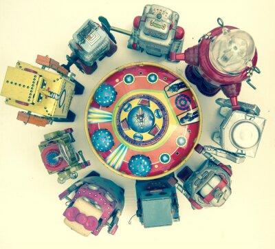 Póster Grupo de juguetes robot