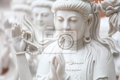Guan Yin tallado de mármol blanco