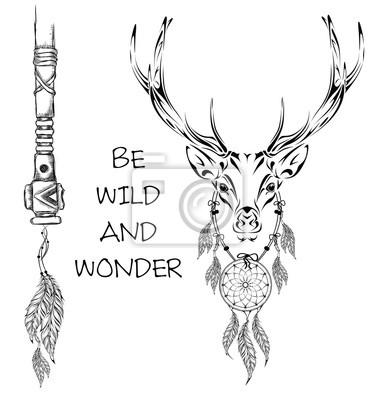Guerrero indio de los ciervos, ejemplo dibujado mano animal ...