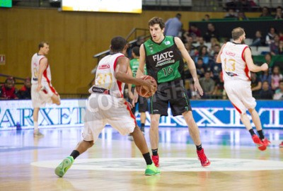 Póster Guillem Vives of Joventut in action at Spanish Basketball League match between Joventut and Zaragoza, final score 82-57, on April 13, 2014, in Badalona, Spain