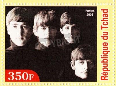 Póster GUINEA - CIRCA 2003: The Beatles - 1980 famoso grupo pop musical.
