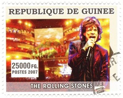 Póster GUINEA - CIRCA 2007 famoso cantante de rock Mick Jagger de la banda de música de los Rolling Stones