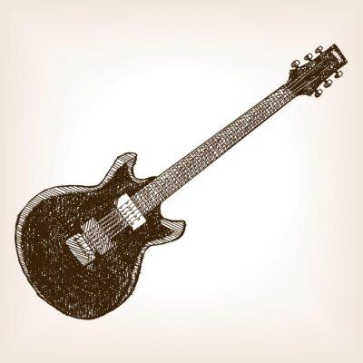 Póster Guitarra eléctrica dibujado a mano vector de estilo de boceto