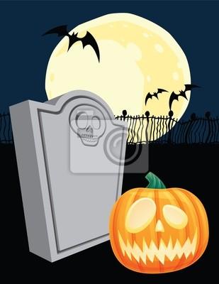 Halloween de la piedra sepulcral y Jack o Lantern