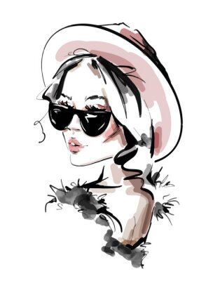 Póster Hand drawn beautiful young woman in sunglasses. Stylish elegant girl. Fashion woman look. Sketch. Vector illustration.