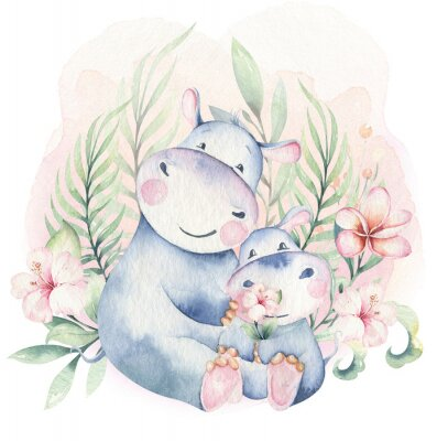 Póster Hand drawn cute isolated tropical summer watercolor hippo animals. hippopotamus baby and mother cartoon animal illustrations, jungle tree, brazil trendy design. Aloha collection.
