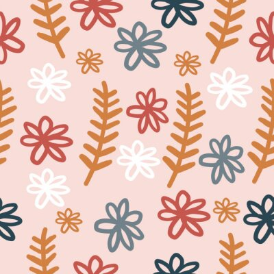 Póster Hand-drawn Repeat Floral Flower Pattern with pink background. wildflowers and leaves. Retro. Seamless floral pattern. Stylish repeating texture. Repeating texture.