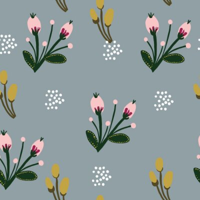 Póster Hand-drawn Repeat Wildflower Botanical Pattern with pink flowers and gray background. Seamless floral pattern. Stylish repeating texture. Vintage.