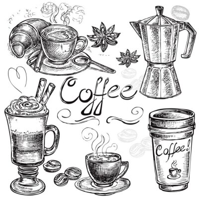 Póster hand drawn set coffee collection