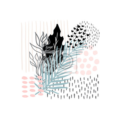 Póster Hand drawn vector abstract tropical leaves background isolated on white. Vector