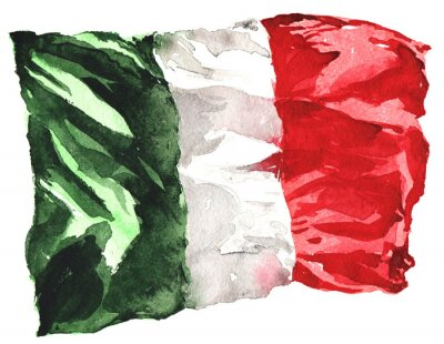 Póster hand-drawn watercolor flag of Italy - a realistic , fluttering i