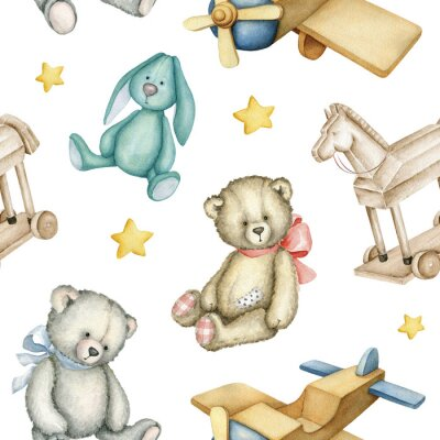 Póster Hand drawn watercolor seamless pattern with old-fashioned toys. Teddy Bears. Bunny toy. Airplane. Rocking horse. Watercolor Illustration on white background.