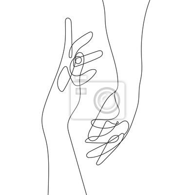 Póster Hand Gesture Continuous Line Drawing. Couple Minimalist Contour Illustration. One Line Hands Concept. Vector EPS 10.