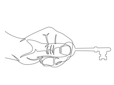Hand Holding a Skeleton Key One Single Continuous Line Vector Illustration