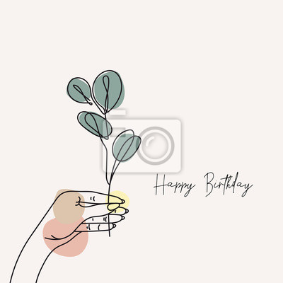 Póster Hand holds eucalyptus silver dollar branch continuous line drawing. One line . Hand-drawn minimalist illustration, vector.