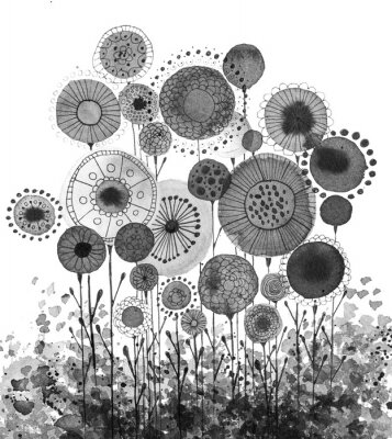 Póster Hand made ink drawings with floral motifs resembling dandelions, black and white
