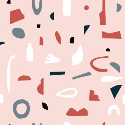 Póster Handmade pink geometric abstract shapes. Seamless Pink,gray, and black pattern. Stylish repeating texture. Modern. Simple. Cut paper.