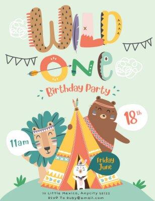 Póster Happy birthday party invitation card with cartoon tribal animals. Vector illustration - Vector