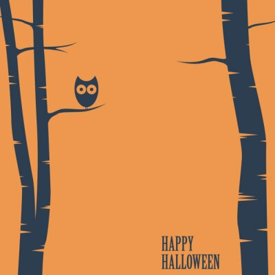 Póster Happy halloween card with owl sitting on tree. Holiday postcard