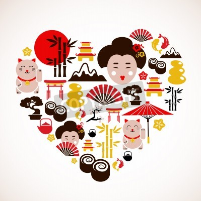 Póster Heart shape with Japan icons