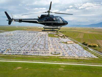 Helicopter flight over customs car parcking