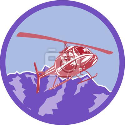 Helicóptero montañas montañas retro