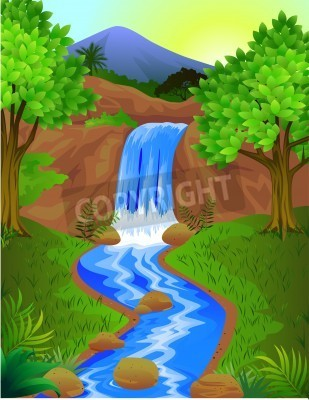 Póster Hermosa cascada