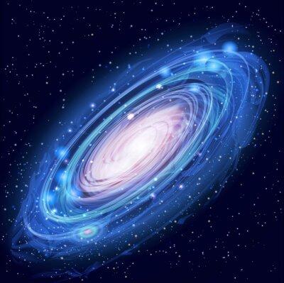 Póster Hermosa Glowing Vector Galaxia de Andrómeda