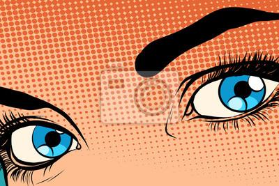 Hermosa niña ojo raster efecto halfton