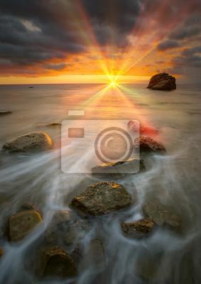 Hermosa puesta de sol del mar