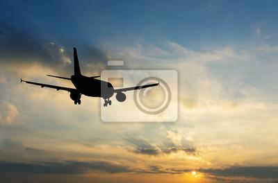 Hermosa vista de la silueta de avión