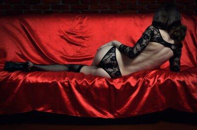 Póster Hermosa y sexy mujer joven en ropa interior erótica y medias