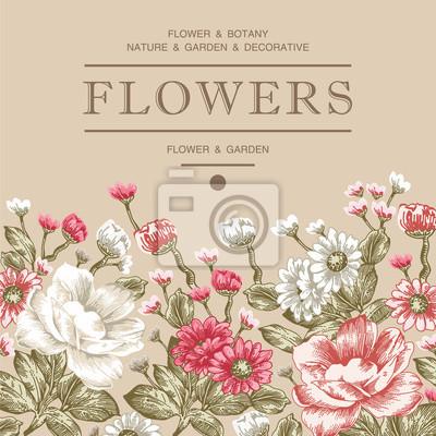 Hermosas Flores Realistas Floracion Barroca Tarjeta De La