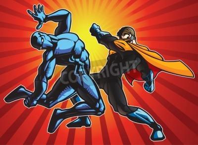 Póster Héroe estupendo y una batalla del ninja haciendo.