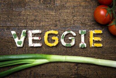 Póster Hierbas Vegetales con sabor a frutas y verduras Broten mit Tomaten und Frü
