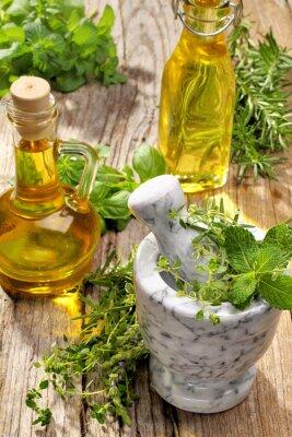 Póster hierbas y aceite