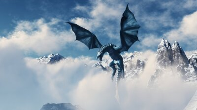 Póster High resolution Ice dragon 3D rendered. Write your text and use it as poster, header, banner or etc.
