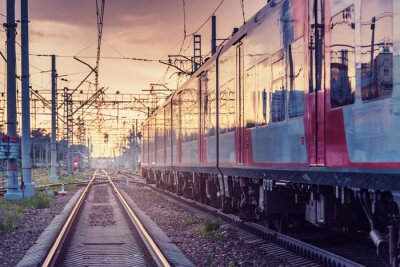 Highspeed train moves at sunset time. Moscow. Russia.