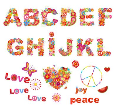 Póster Hippie alfabeto floral con flores coloridas divertidas. Parte 1